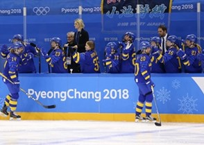 GANGNEUNG, SOUTH KOREA - FEBRUARY 10: Sweden's Fanny Rask #20 and Sabina Kuller #14 celebrate at the bench with teammates after a first period goal against Japan during preliminary round action at the PyeongChang 2018 Olympic Winter Games. (Photo by Andre Ringuette/HHOF-IIHF Images)