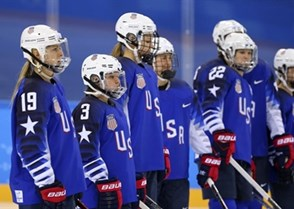 GANGNEUNG, SOUTH KOREA - FEBRUARY 13: USA's Gigi Marvin #19, Cayla Barnes #3 and teammates look on prior to preliminary round action against the Olympic Athletes of Russia at the PyeongChang 2018 Olympic Winter Games. (Photo by Andre Ringuette/HHOF-IIHF Images)