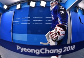 GANGNEUNG, SOUTH KOREA - FEBRUARY 14: USA's Ryan Zapolski #30 walks to the ice for warmup before taking on Slovenia during preliminary round action at the PyeongChang 2018 Olympic Winter Games. (Photo by Matt Zambonin/HHOF-IIHF Images)