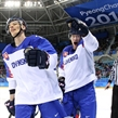 GANGNEUNG, SOUTH KOREA - FEBRUARY 16: Slovakia's Marek Daloga #71 and Michal Cajkovsky #56 sakte to the bench after a first period goal by Andrej Kudrna #18 (not shown) during preliminary round action at the PyeongChang 2018 Olympic Winter Games. (Photo by Andre Ringuette/HHOF-IIHF Images)
