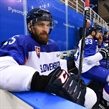 GANGNEUNG, SOUTH KOREA - FEBRUARY 17: Slovakia's Marek Hovorka #25 takes a break on the bench between shifts against Team Slovenia during preliminary round action at the PyeongChang 2018 Olympic Winter Games. (Photo by Matt Zambonin/HHOF-IIHF Images)