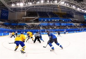 GANGNEUNG, SOUTH KOREA - FEBRUARY 18: Team Sweden faces off against Team Finland during preliminary round action at the PyeongChang 2018 Olympic Winter Games. (Photo by Matt Zambonin/HHOF-IIHF Images)