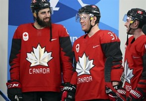 GANGNEUNG, SOUTH KOREA - FEBRUARY 18: Canada's Eric O'Dell #22, Mat Roninson #37 and Brandon Kozun #15 are all smiles prior to preliminary round action against Korea at the PyeongChang 2018 Olympic Winter Games. (Photo by Andre Ringuette/HHOF-IIHF Images)
