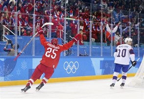 GANGNEUNG, SOUTH KOREA - FEBRUARY 21: Mikhail Grigorenko #25 of the Olympic Athletes from Russia celebrates after scoring a first period goal against Norway during quarterfinal round action at the PyeongChang 2018 Olympic Winter Games. (Photo by Andre Ringuette/HHOF-IIHF Images)