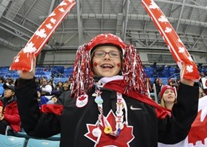 GANGNEUNG, SOUTH KOREA - FEBRUARY 21: Canadian fan cheering on his team during quarterfinal round action against Finland at the PyeongChang 2018 Olympic Winter Games. (Photo by Andre Ringuette/HHOF-IIHF Images)